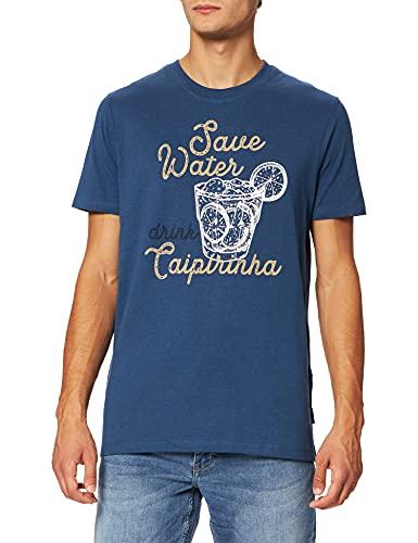 Springfield Camiseta básica Manga Corta orgánica Caipirinha Tricot, Bleu Moyen, M Homme