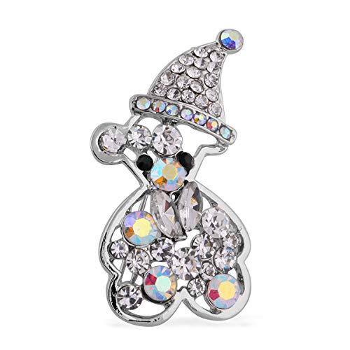 TJC Teddy Bear Brooch for Women Cute Animal Jewellery Multicoloured Crystal, Simulated White Pearl and Simulated Diamond