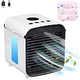 Mini Enfriador de Aire Mgee Móvil Aire Acondicionado Portatil 4 en 1 Personal USB Air Cooler Ventilador Humidificador Purificador, 3 Velocidades, para Hogar/Oficina (Blanco oscuro)