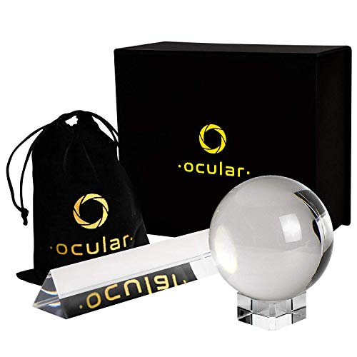 K9 80mm Crystal Ball with Stand w/ K9 Crystal Prism as Photography Ball, Lens Ball in Clear Glass Set, Lensball Includes Large Gazing Balls and Prism, Photography Gifts for Photographers