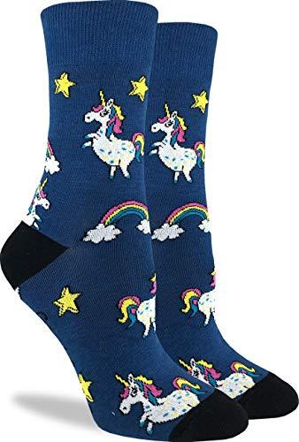 Good Luck Sock - Calcetines para mujer, diseño de unicornios, color azul