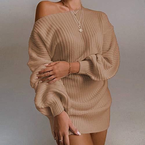 GUOYANGPAI Vestido de suéter de Manga Larga con Hombros Descubiertos y Manga de Linterna sólida para Mujer, otoño e Invierno, Informal, con Hombros Descubiertos,C,L