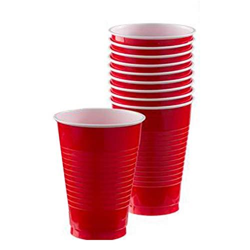 Amscan-Bicchiere plastica 355 ml Rosso, 7AM552287-40