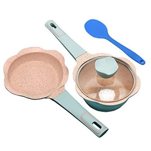 HHTX Sartén para Sopa de Tres Piezas, Cuchara para Sopa, Juego de Cubiertos para niños, Revestimiento de Piedra Natural de maifan, ecológico, sartén Antiadherente, Azul
