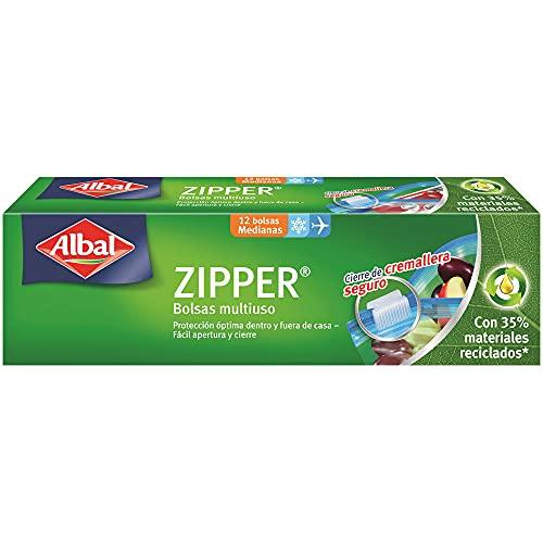 Albal Bolsas multiuso, ZIPPER, cierre hermético de cremallera, tamaño mediano (1L), 1 paquete de...