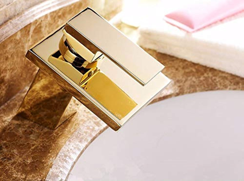 CZOOR Waschtischarmaturen Messing Goldener Wasserfall Waschbecken Wasserhahn Einhebel Quadrat Auslauf Toilette Hei Kalt Mischer Wasserhhne