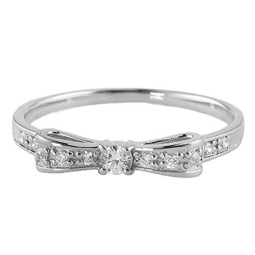 [ジュエリーアイ] リボンリング ダイヤモンド ピンキーリング 3号から 指輪 ダイヤリング ホワイトゴールドK10 K10WG 11.5号