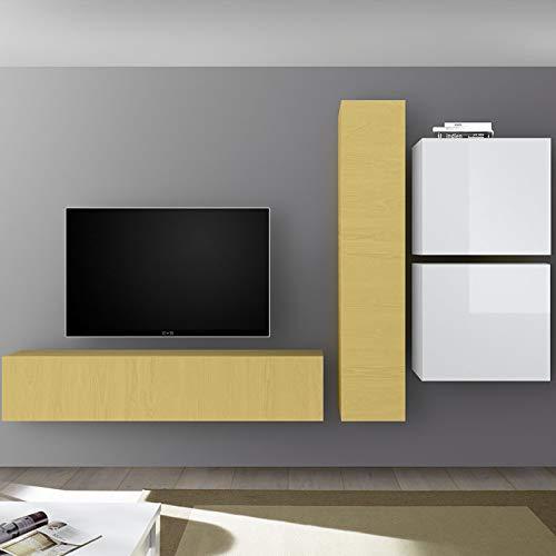 Nuevo - Mueble para televisor, Color Blanco Lacado y Amarillo: Amazon.es: Hogar