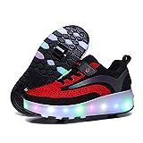 AMXSML Zapatillas con ruedas LED para niños, jóvenes, niñas, con ruedas dobles, carga USB, 7 colores cambiantes, zapatos de skateboarding, para deportes al aire libre, color negro, 31 EU