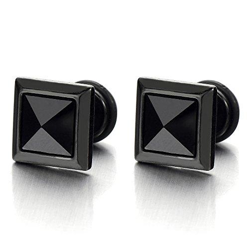 9MM Cuadrado Negro Enchufe Falso Fake Plug, Pendientes de Hombre, Aretes, Acero con Negro Circonita, 2 piezas