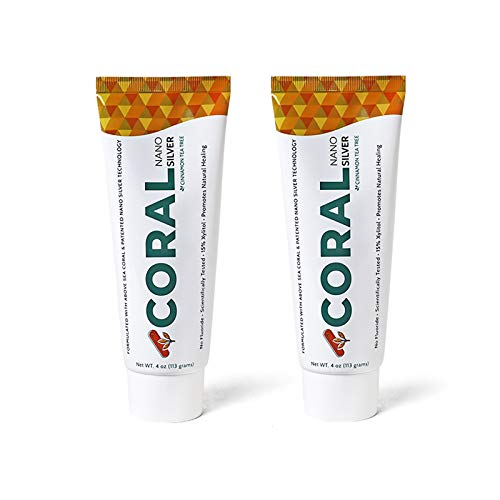 Coral White Nano Silver Cinnamon Tea Tree Toothpaste, Natural Fluoride Free Teeth Whitening Toothpaste, Coral Calcium Nano Silver Infused SLS Free 4 Ounce (2 Pack)