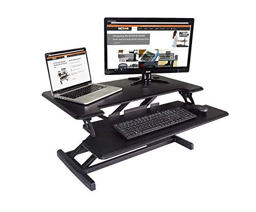 Victor DCX610 - Escritorio compacto de alto nivel ajustable con bandeja extraíble para teclado, color negro, 83,8 cm de ancho, ideal para uso en portátil, compatible con la mayoría de brazos de monitor