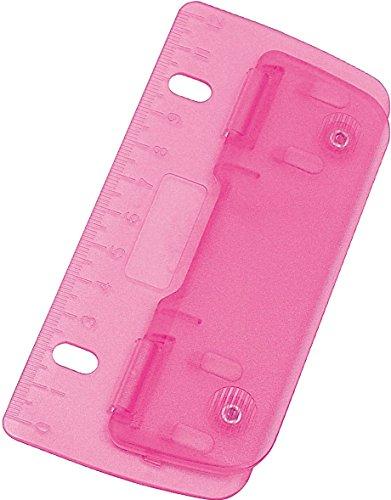 Wedo® Taschenlocher/mobiler 2fach-Locher aus Kunststoff mit 12-cm-Skala (1 Locher, pink)
