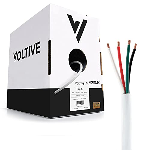 Voltive 14/4 Speaker Wire - 14 AWG/Gauge 4 Conductor - UL Listed in Wall (CL2/CL3) and Outdoor/In Ground (Direct Burial) Rated - Oxygen-Free Copper (OFC) - 500 Foot Bulk Cable Pull Box - White