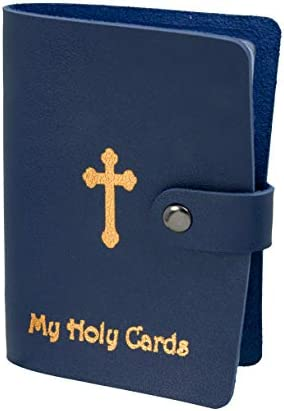 Religious My Holy Cards Card Holder with Gold Stamped Cross Design 5 1 4 Inch Blue product image
