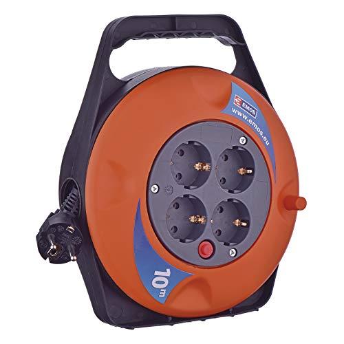 EMOS P19510 Mini-Kabeltrommel 10m / 4-Fach Kabelbox/Kabelrolle/Leitungsroller für den Innenbereich, 4 Schuko Steckdosen, 2300 W, Thermoschalter, 230 V