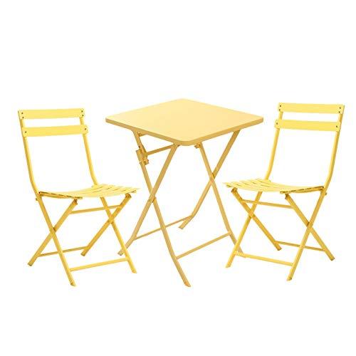 Mesa Plegable, Mesa Cuadrada, Mesa Plegable De Hierro Labrado Y Silla Mesa De Balcón Y Silla Casa Muebles De Exterior, Conjunto De 3 Piezas (Color : Yellow)