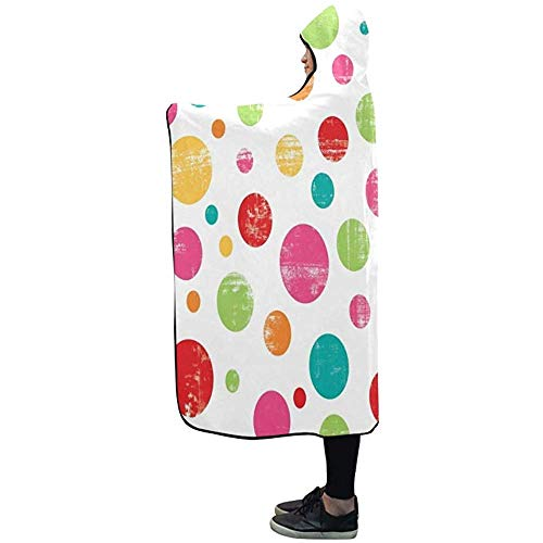 NA Hooded Blanket Bunte Dot Design Decke 50 x 40 Zoll Comfotable Hooded Throw Wrap