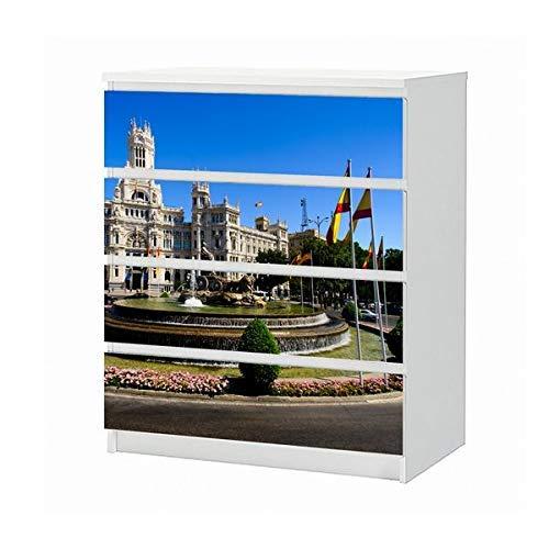 Set Möbelaufkleber für Ikea Kommode MALM 4 Fächer/Schubladen Madrid Spanien Skyline Cibeles Brunnen Aufkleber Möbelfolie sticker (Ohne Möbel) Folie 25B1399
