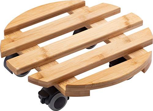 Metafranc Pflanzenroller Ø 300 mm - 60 kg Tragkraft - Bambus-Platte - Natürlicher Holz-Look - TPE-Rollen mit 4 Feststellern / Indoorroller / Blumenroller / Transporthilfe für Pflanzen / 825330