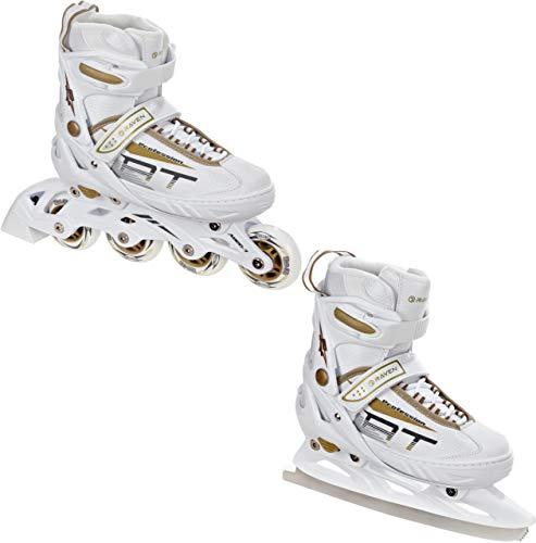 RAVEN 2in1 Schlittschuhe Inline Skates Inliner Profession White/Gold verstellbar (35-39(22,5cm-25cm))