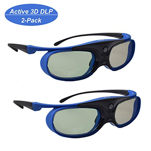 3D Brille, 3D Aktiver Shutter DLP Link Wiederaufladbare Brille für 3D DLP Link Projektor BenQ Optoma Viewsonic Acer Philips LG Infocus NEC Jmgo Vivitek Cocar Toumei Beamer - Blau 2 Stück