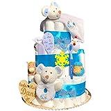 Tarta de pañales recién nacido niño tres pisos modelo Ratoncitos azules con...