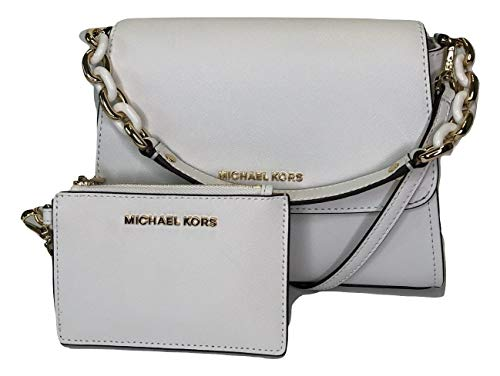 Bundle of 2 items: MICHAEL Michael Kors Sofia SM EW Satchel bundled with Michael Kors Jet Set Travel Coin Purse Wristlet Single Top handle with turtle chain detail in gold, Magnetic snap flap top closure Interior : 2 main compartments, zipped compart...