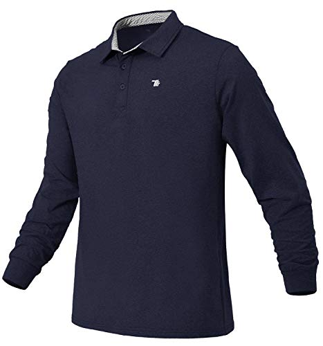 Rdruko Men's Tennis Golf Polo Shirt Long Sleeve Thin Fleece Shirts(Navy, US XXL)
