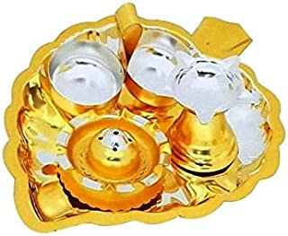 NOBILITY Silver & Gold Plated Pooja Thali Set - Exclusive Leaf Shaped Puja Thali Set with Haldi Kumkum Containers, Diya and Agarbati Stand