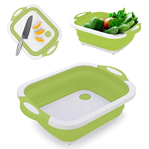 3-in-1 Multifunctional Portable Cutting Chopping Board Foldable Outdoor Cleaning Bowl Camping Picnic Barbecue Folding Sink Drain Basket for Fruit Vegetable Kitchen Bathroom Caravan Storage Basket