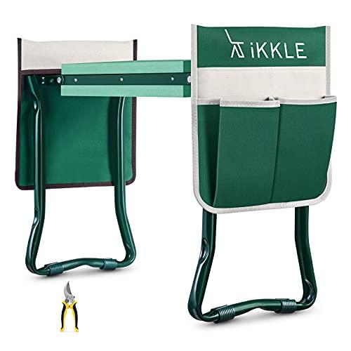 Garden Kneeler and Seat, Upgraded Folding Garden Bench Stool Portable Garden Kneeler Gardening Tools with 2 Free Tool Pouch, Detachable Belt, EVA Kneeling Pad, Pruning Shears, Ideal Gardening Gift