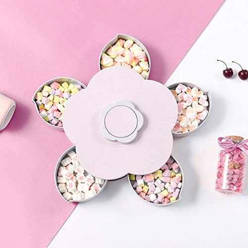 XGQ Creative Flowerlike Rotating Candy Tray Lazy Snack Nuts Box (Rosa) (Color : Pink)