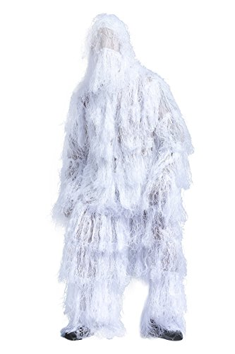 SUNRIS Ghillie Suit for Hunting Shooting Birdwatching - White