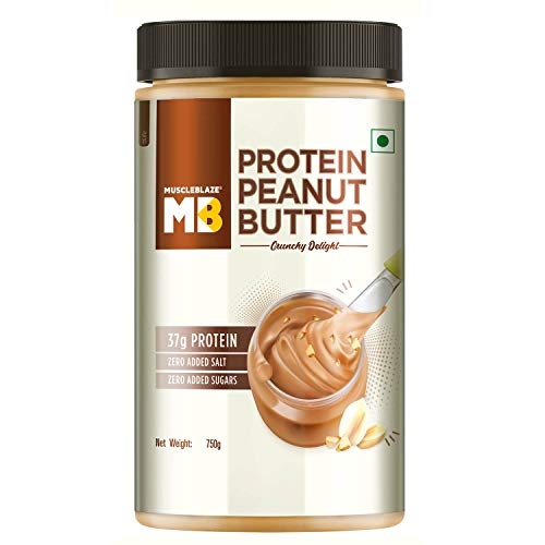 MuscleBlaze High Protein Natural Peanut Butter Unsweetened, Crunchy Delight,750g (Crunchy Delight, 750g)