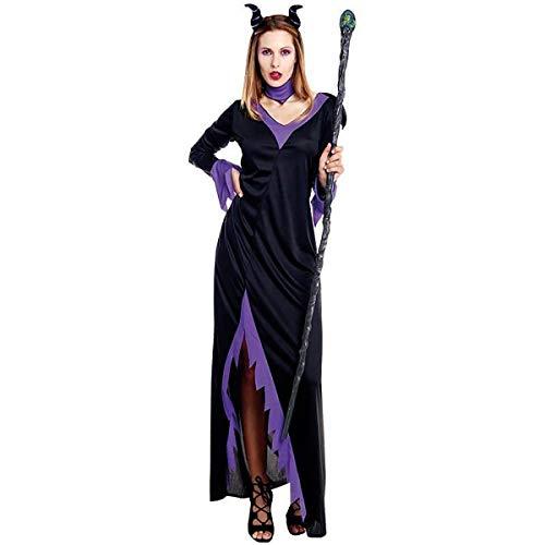H HANSEL HOME Disfraz Reina Maléfica Adulto - Mujer - Incluye Vestido + Cuello + Diadema con Cuernos Cosplay Carnaval Halloween Size L