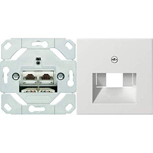 Gira 245200 Netzwerkdose 2-fach Cat.6A IEEE 802.3an Unterputz Einsatz & 027027 Abdeckung UAE/IAE/ISDN System 55 reinweiß matt