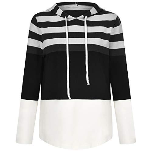 DOFENG Herbst Damen Bluse Hoodies Gestrickter Streifen Tunnelzug Langarm Streetwear Frauen Kapuzenpullover Freizeit V-Ausschnitt Sweatshirts Lose Pullover (Schwarz, XXX-Large)