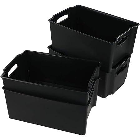 Bblie 4 Panier De Rangement Plastique, Bac Rangement Plastique (Noir)
