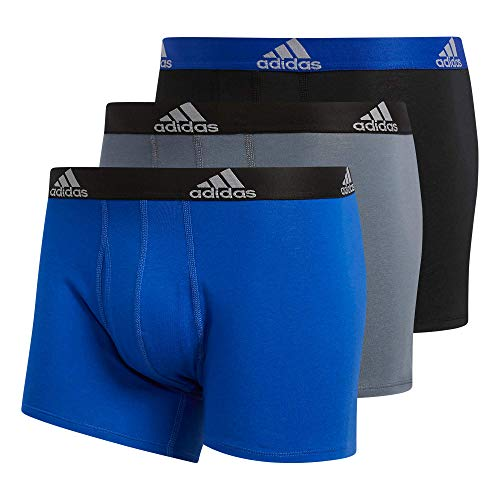 adidas Men's Stretch Cotton Trunk Underwear (3-Pack) Boxed, Bold Blue/Onix Grey/Black, X-Large