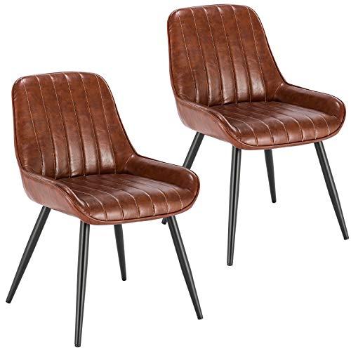 Lestarain Lot de 2 Chaises de Salle à Manger avec Dossier Chaise de Cuisine Rétro Chaise de Salon Assise en Similicuir et Pieds en Métal,Brune