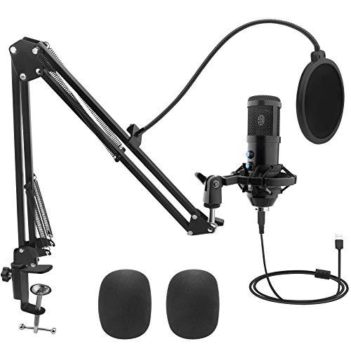 USB Mikrofon, kungfuren professional Podcast Mikrofon mit Stummschaltung, 192KHz /24Bit Studio Kondensator Mikrofon Kit mit Soundkarte Boom Arm Shock Mount für Skype YouTuber Gaming Home Aufnahme