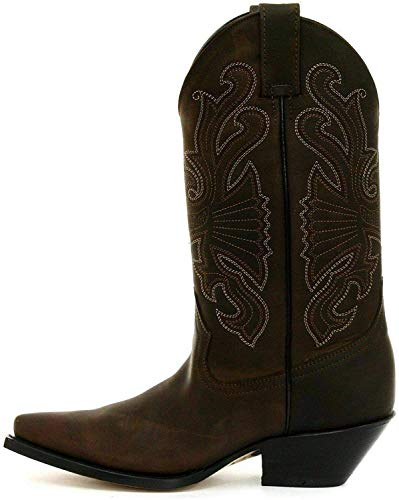 Grinders Unisex Buffalo Brown Leather Slip On Western Cowboy Boots 10