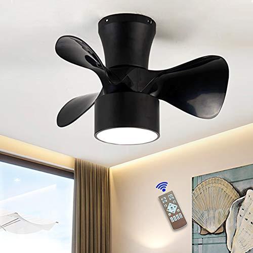 JAHQ Black - Ventilador de Techo con Luz, Silencioso, 3 Aspas, Mando a Distancia, 55 cm de Diámetro, 6 Velocidades,Temporizador, Motor DC, 36W, Función de inversión de invierno