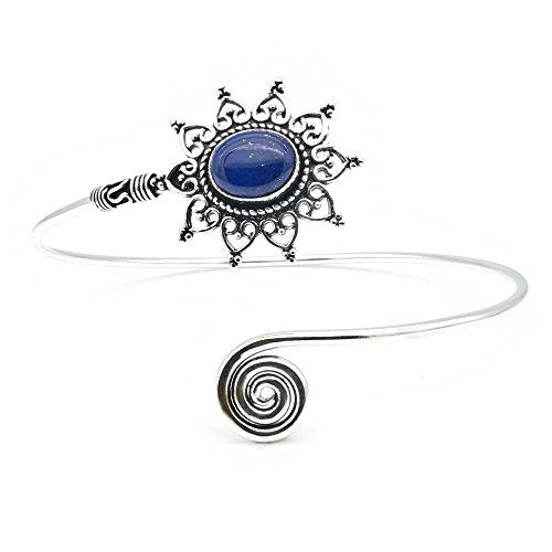 mantraroma Oberarmreif versilbert silbern Lapis Lazuli blau (922-07-011-06)