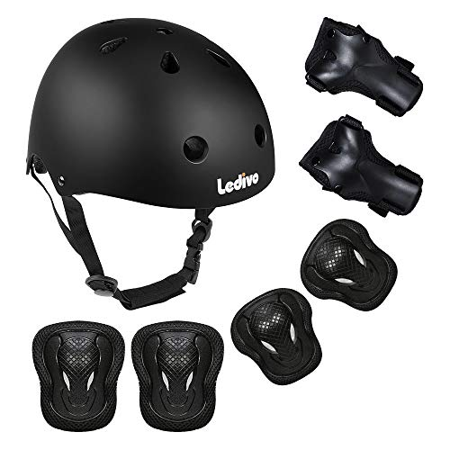 Ledivo Kids Adjustable Helmet Suitable for Ages 38 Years Toddler Boys Girls Sports Protective Gear Set Knee Elbow Wrist Pads for Bike Bicycle Skateboard Scooter Rollerblading