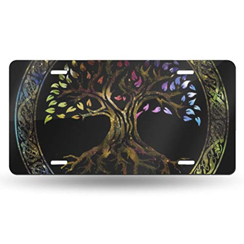 JHqichenzhao American License Plate Aluminum Metal License Decorative Front License Plate for Women Girls Men Boys Colorful Celtic Glowing Tree of Life Knot Irish Gaelic
