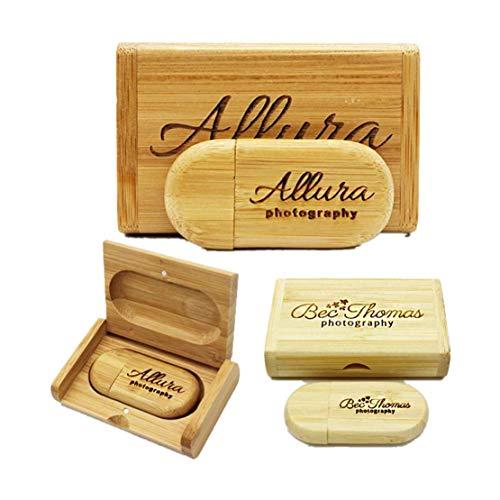 Personalizza Personalizzato Laser inciso solido legno USB Flash Drive USB Box Wedding Photo Memory Storage Disk, cerimonia nuziale, personalizzazione aziendale, regalo personale (8G, bamboo1)