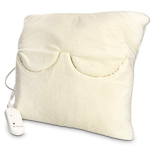 Navaris 2in1 Elektrisches Heizkissen und Fußwärmer - 38x38cm 2 Wärmestufen 45W waschbar - Wärmekissen für Rücken Nacken Schulter Füße in Creme