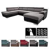 Cavadore Wohnlandschaft Xenit mit Ottomane links und Longchair rechts, U-Form Couch mit...
